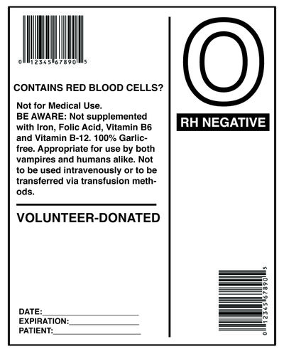 Blood Packet Bottle Label